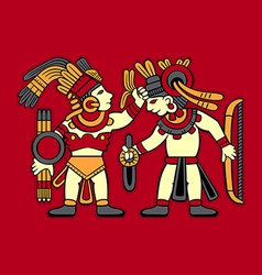 Aztec warriors vector image vector image