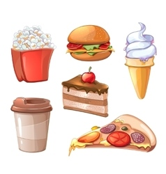 Cartoon fast food icons vector image vector image