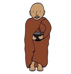 Cute young monk cartoon vector image vector image