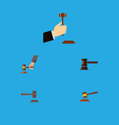 Flat icon hammer set of legal hammer government vector