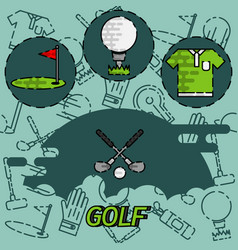 golf flat concept icons vector image vector image