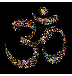 Grunge colourful religious hindu symbol Om vector image