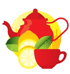 red kettle and teacup yellow lemon vector image vector image