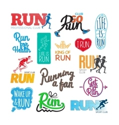 Run Icons Set Inscriptions and Pictures of Runer vector image
