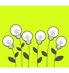 white lightbulbs growing on green backgro vector image vector image