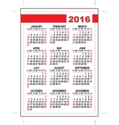 2016 pocket calendar Template grid First day vector image