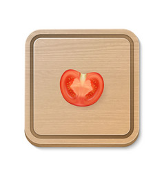 3d realistic slice juicy tomato on a square vector image