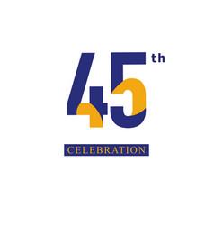 45 th anniversary celebration orange blue vector