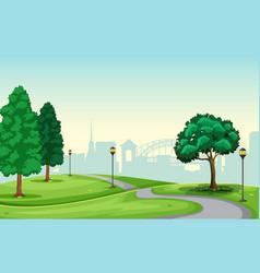 A beautiful urban park scene vector