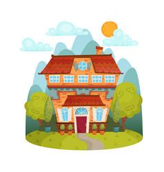 A cartoon cute house vector