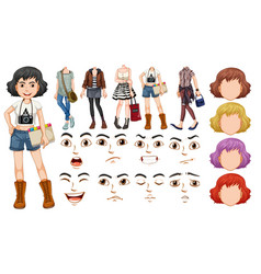 A girl character with diffrent body and face vector