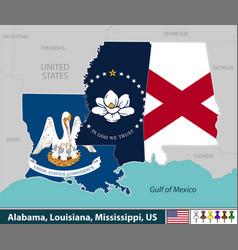Alabama louisiana and mississippi united states vector