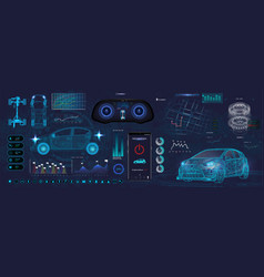 Application elements for car futuristic style vector