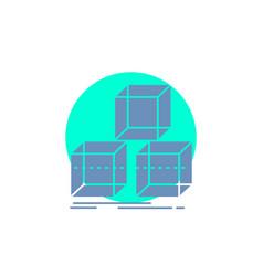 Arrange design stack 3d box glyph icon vector