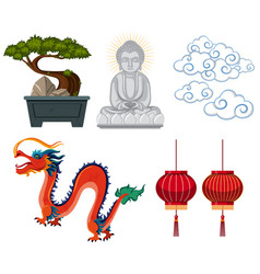asian antiques and decorations on white background vector image