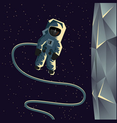 Astronaut spacewalk near the moon vector