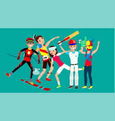 athlete set man woman skiing athletics vector image