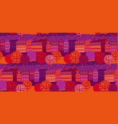 autumn cityscape hand drawn banner template vector image