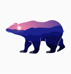 bear double exposure vector image
