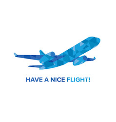 Blue jet airplane with patterns isolated on white vector