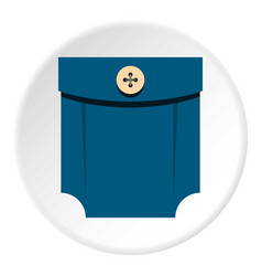 Blue shirt pocket with button icon circle vector