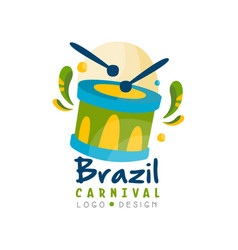 Brazilcarnival logo design bright festive party vector