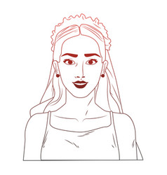 Bride pop art cartoon red lines vector