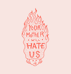 burning hair character skateboard label for vector image