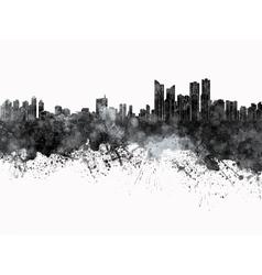 Busan skyline in black watercolor on white vector