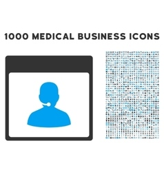 Call Center Manager Calendar Page Icon With 1000 vector
