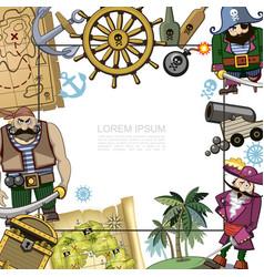 cartoon pirates template vector image