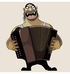 Cartoon terrible goblin plays on a bayan vector