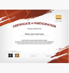 Certificate template in rugby sport theme with vector