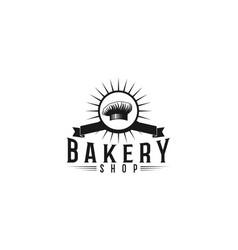 chef hat vintage bakery shop logo designs vector image