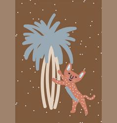 Childish leopard on tree nursery art wall poster vector
