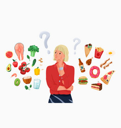 Choice between healthy and unhealthy food concept vector