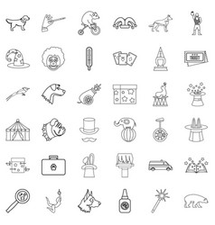 circus icons set outline style vector image