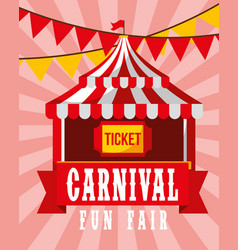 circus tent ticket pennant retro carnival fun fair vector image