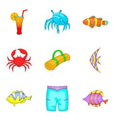 coast icons set cartoon style vector image