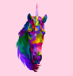 colorful unicorn front faces on pop art vector image