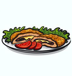 cordon bleu dish vector image