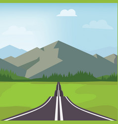 country road in green field and mountains rural vector image
