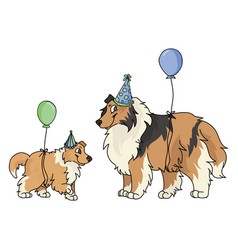 Cute cartoon rough collie dog and puppy with party vector