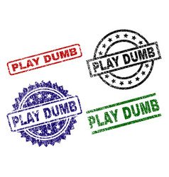 Damaged textured play dumb seal stamps vector