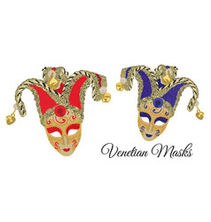 Design of venetian masks in red and purple colors vector