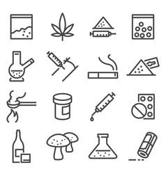 Drugs line icons vector