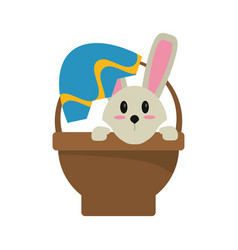 Easter bunny in basket present vector