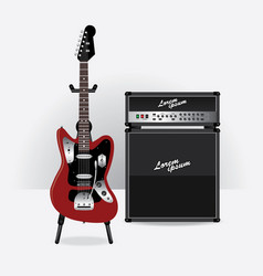 Electric guitar with guitar amplifier vector