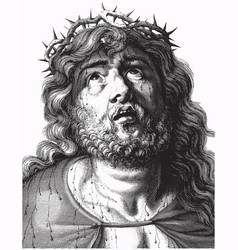 engraving jesus christ with crown thorns vector image