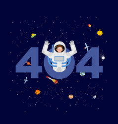 error 404 astronaut surprise page not found vector image
